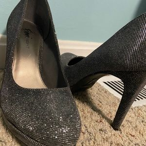 "FIONI Clothing Shoes - 3""-3.5"" Black Sparkled Heels"